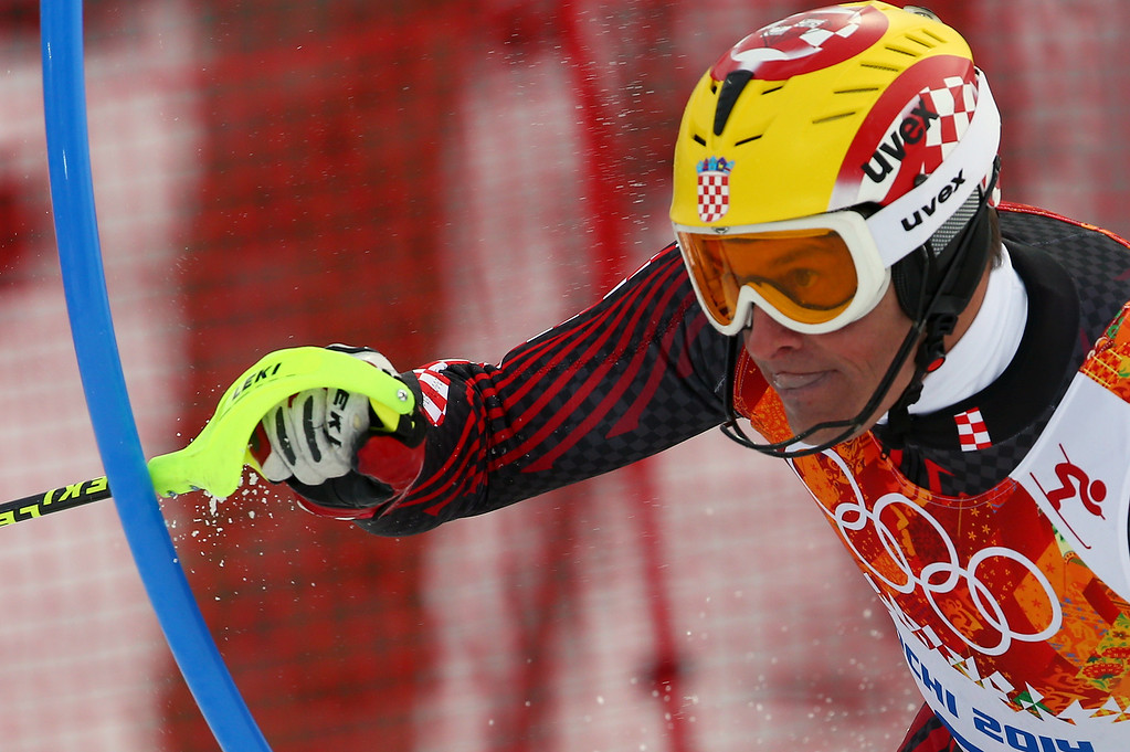 . Croatia\'s Ivica Kostelic skis during the first run of the men\'s slalom at the Sochi 2014 Winter Olympics, Saturday, Feb. 22, 2014, in Krasnaya Polyana, Russia. (AP Photo/Alessandro Trovati)