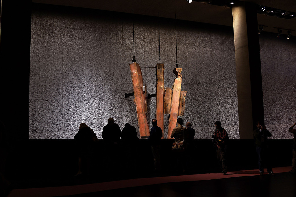. A salvaged section of steel facade from the North Tower from Ground Zero is viewed during a preview of the National September 11 Memorial Museum on May 14, 2014 in New York City.  (Photo by Spencer Platt/Getty Images)