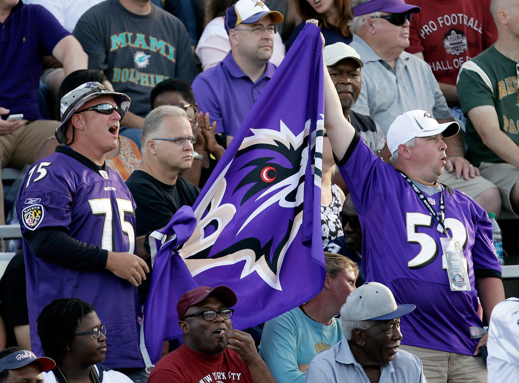 . Baltimore Ravens fans cheer during the start of the induction ceremony at the Pro Football Hall of Fame Saturday Aug. 3, 2013, in Canton, Ohio. (AP Photo/Tony Dejak)
