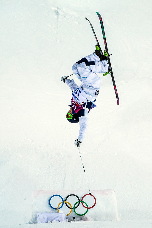 . KRASNAYA POLYANA, RUSSIA  - JANUARY 8: Heather McPhie competes in the Ladies\' Moguls Finals at Rosa Khutor Extreme Park during the 2014 Sochi Olympic Games Saturday February 8, 2014. Justine Dufour-Lapointe won gold with a score of 22.44. Her sister Chloe Dufour-Lapointe won the silver with a score of 21.66. Hannah Kearney, of USA, won bronze with a score of 21.49. (Photo by Chris Detrick/The Salt Lake Tribune)