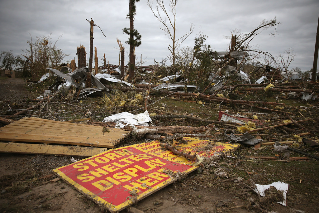 . A business that sold tornado shelters was damaged by a tornado, April 30, 2014 in Mayflower, Arkansas. Deadly tornadoes ripped through the region starting on April 27 leaving more than two dozen dead. The storm system has also brought severe flooding to Florida\'s Panhandle.  (Photo by Mark Wilson/Getty Images)