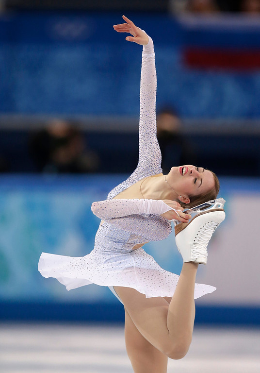 . Carolina Kostner of Italy competes in the women\'s short program figure skating competition at the Iceberg Skating Palace during the 2014 Winter Olympics, Wednesday, Feb. 19, 2014, in Sochi, Russia. (AP Photo/Bernat Armangue)
