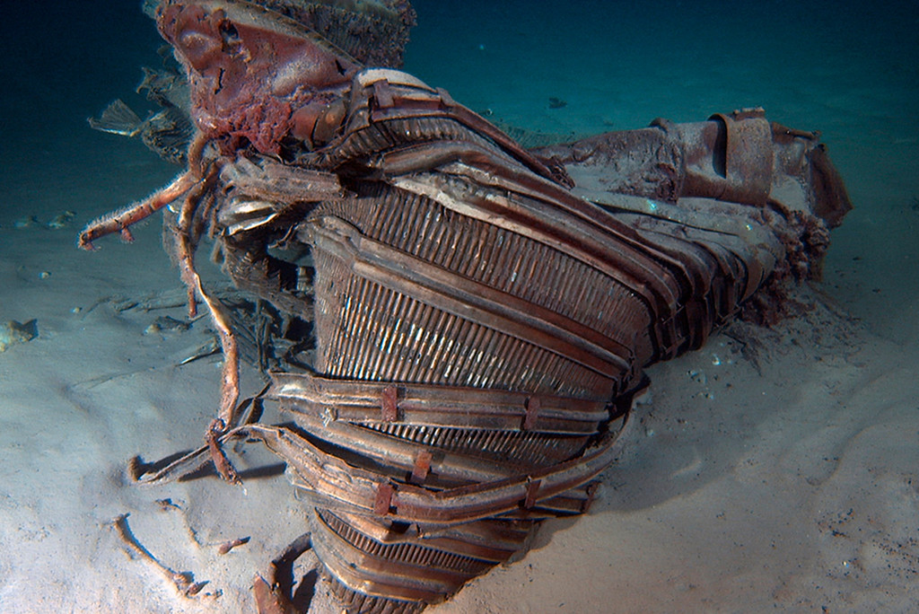 . A nozzle from an Apollo F-1 engine is seen n this undated handout photo from Bezos Expeditions taken off the coast of Florida and released March 20, 2013.  REUTERS/Bezos Expeditions/Handout