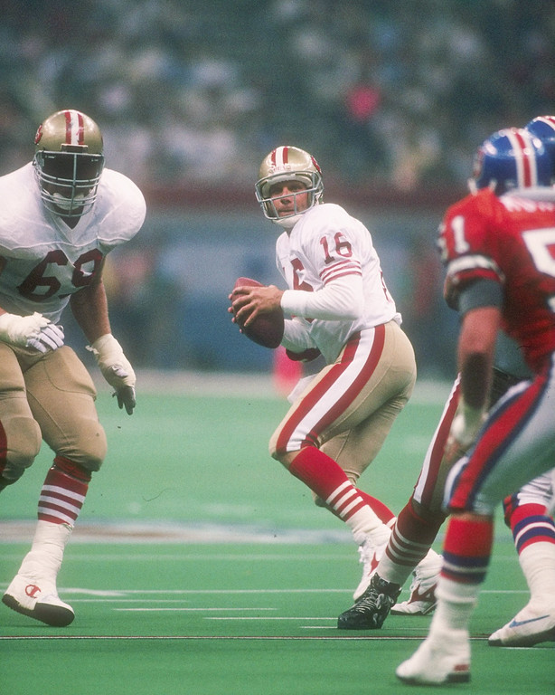 . Quarterback Joe Montana #16 of the San Francisco 49ers prepares to pass the ball during Super Bowl XXIV against the Denver Broncos at the Louisiana Superdome in New Orleans, Louisiana.  (Rick Stewart/Allsport)