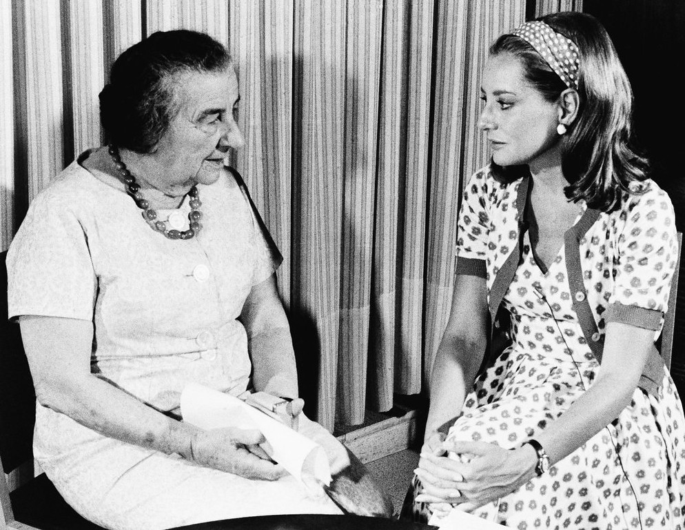 """. \""""I cannot believe the U.S. government or the U.S. people would sell out Israel for oil; I know the American people too well,\"""" declared Prime Minister Golda Meir of Israel during an interview with Barbara Walters, at right, on September  1973 in Jerusalem.  The interview, to be aired on the NBC television network\'s \""""Today\"""" program, September 13, 1973 was taped in Jerusalem, and Mrs. Meir was responding to a question about the pressure by the oil-rich Arab nations in view of the fuel shortage.    (AP Photo/NBC)"""