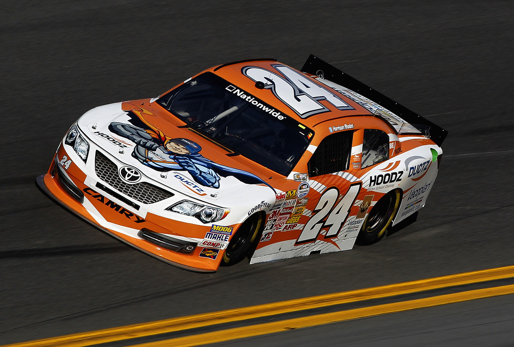 . Harrison Rhodes, driver of the #24 Hoodz-Ductz Toyota, practices for the NASCAR Nationwide Series DRIVE4COPD 300 at Daytona International Speedway on February 20, 2014 in Daytona Beach, Florida.  (Photo by Sean Gardner/Getty Images)