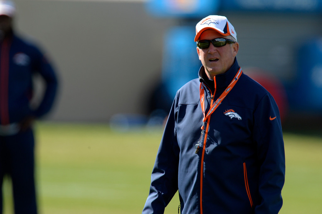 . Denver Broncos head coach John Fox looks on during practice October 16, 2013 at Dove Valley. (Photo by John Leyba/The Denver Post)