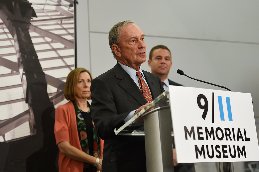 . National September 11 Memorial & Museum Chairman Michael Bloomberg (C), 9/11 Memorial Museum Director Alice Greenwald (L) and 9/11 Memorial President Joe Daniels (R) at a press conference before a press preview of the National September 11 Memorial Museum at the World Trade Center site May 14, 2014 in New York. AFP PHOTO/Stan HONDA/AFP/Getty Images