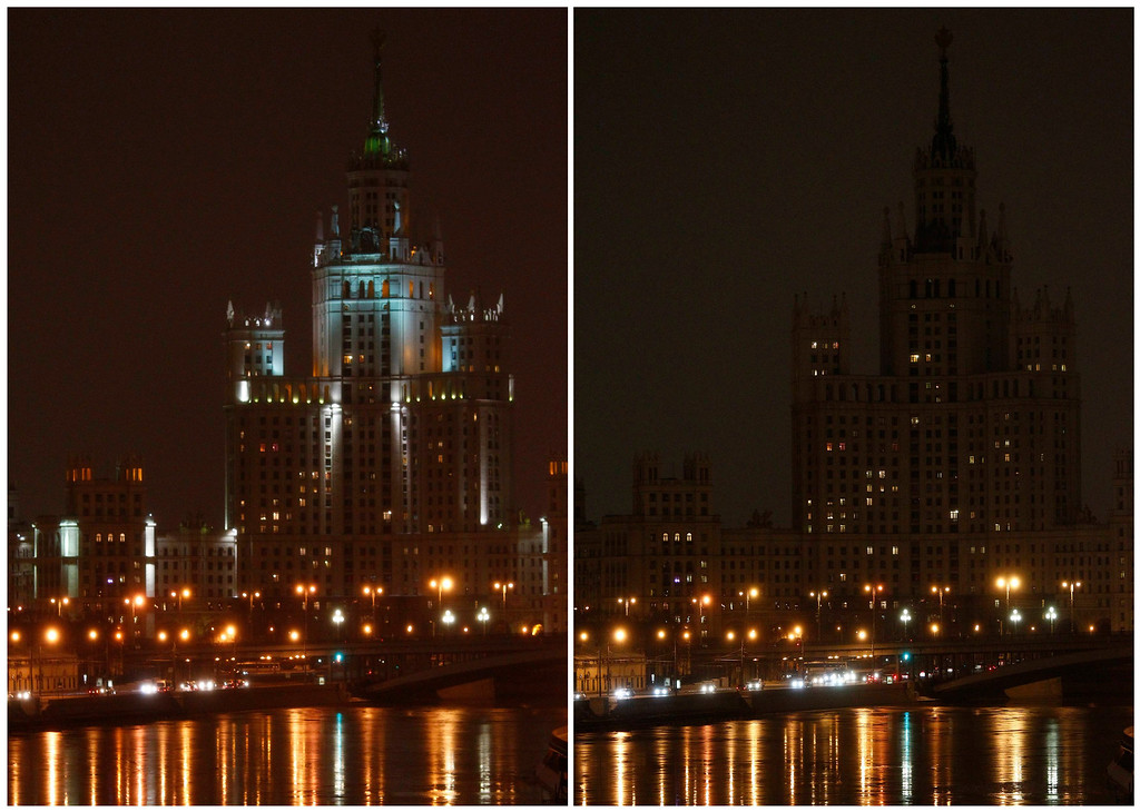 . A combination photo shows a view of a Stalin era skyscraper on the Moscow River before (L) and during Earth Hour in Moscow March 23, 2013. Earth Hour, when everyone around the world is asked to turn off the lights for an hour from 8.30pm local time, is meant as a show of support for tougher actions to combat climate change.  REUTERS/Mikhail Voskresensky