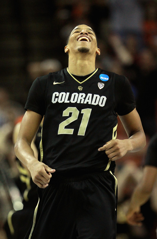 . AUSTIN, TX - MARCH 22:  Andre Roberson #21 of the Colorado Buffaloes celebrates against the Illinois Fighting Illini during the second round of the 2013 NCAA Men\'s Basketball Tournament at The Frank Erwin Center on March 22, 2013 in Austin, Texas.  (Photo by Ronald Martinez/Getty Images)